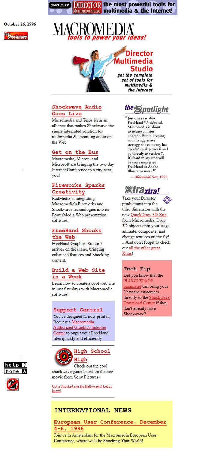 Macromedia website in 1996