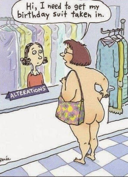 Funny Birthday Suit Alteration Cartoon Joke Picture
