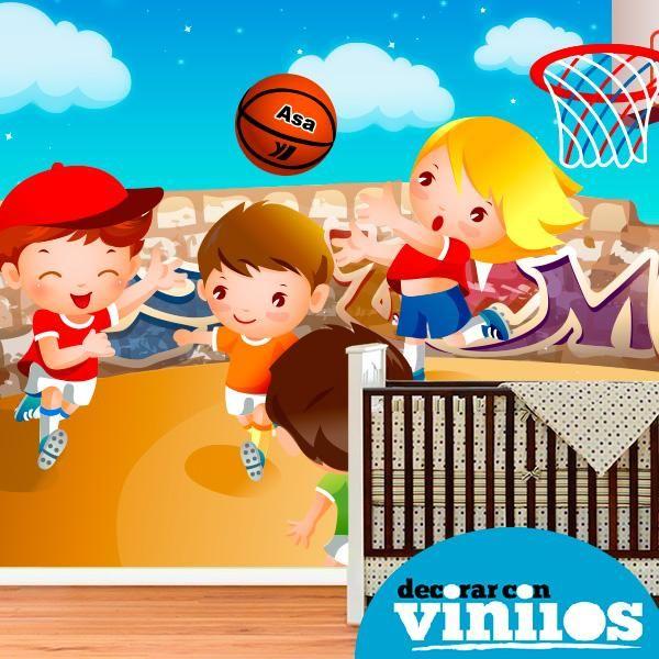 Fotomural Infantil - Niños jugando al basquetbol
