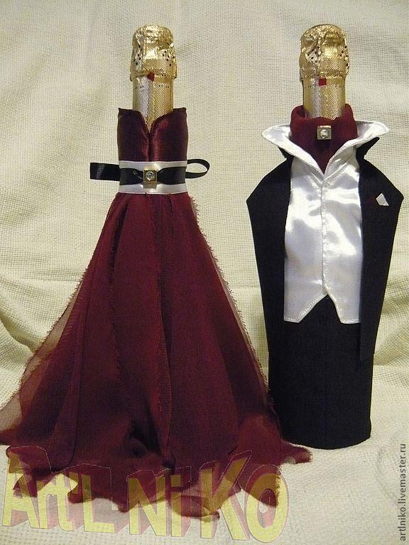 """Купить """"ОДЕЖДА"""" для ШАМПАНСКОГО - бордовый, невеста, стразы, классика, свадебные аксессуары, свадебное шампанское"""