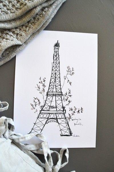 Print/Poster. Illustration med Eiffeltorn av Elina Dahl.