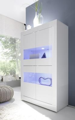 Perfect Urbino Collection Four Door Vitrine with Two Led Spotlights White Gloss Finish