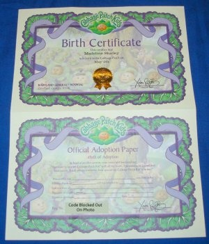 1000 images about cabbage patch kids on pinterest cabbages general hospital and little people for Cabbage patch doll birth certificate