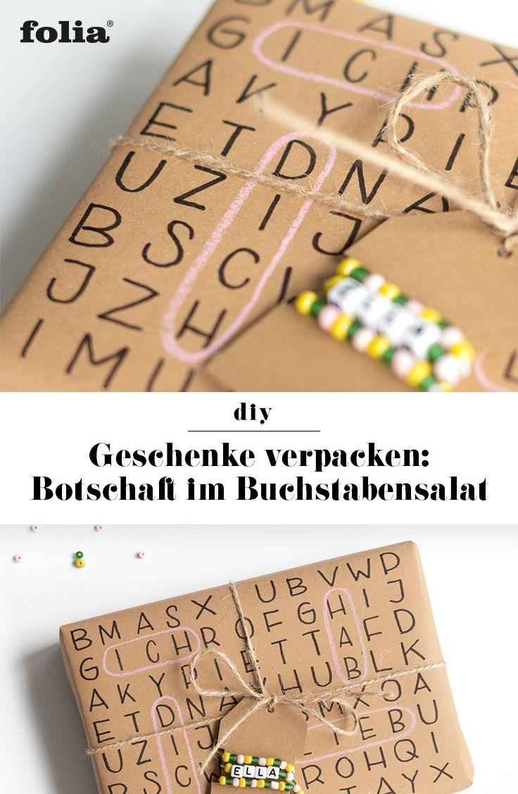 DIY Geschenkpapier lettern I Geschenke verpacken mit