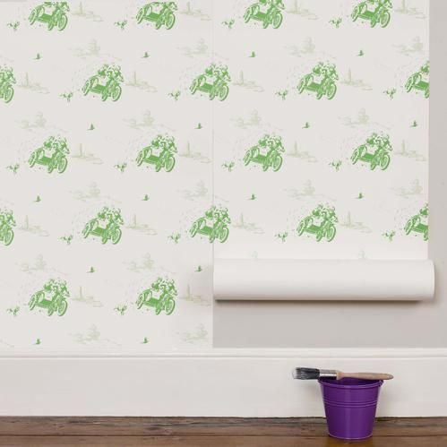 Create an adventure-packed wall with this green vintage motorbike wallpaper