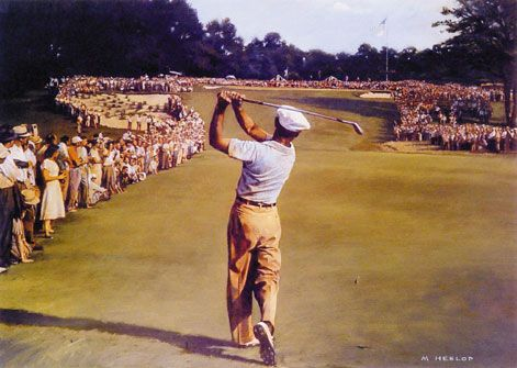 All Time Great Ben Hogan hitting a 1 iron at Merion. U.S. Open, 1950