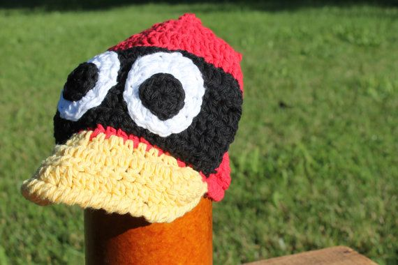 Crochet Character Cardinal Ball Cap MADE TO by sunshineknitandsew, #baseball, #stlouisbaseball, #stlouiscardinals, #baseballcaps ,
