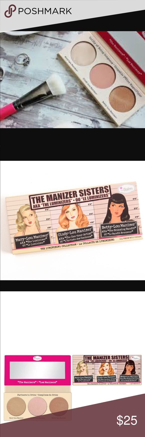 The Balm The Manizer Sisters Luminizing Collection The Balm The Manizer Sisters Luminizing Collection. Includes Mary-Lou Manizer, Cindy-Lou Manizer and Betty-Lou Manizer. Used a few times. Great Condition. The Balm Makeup