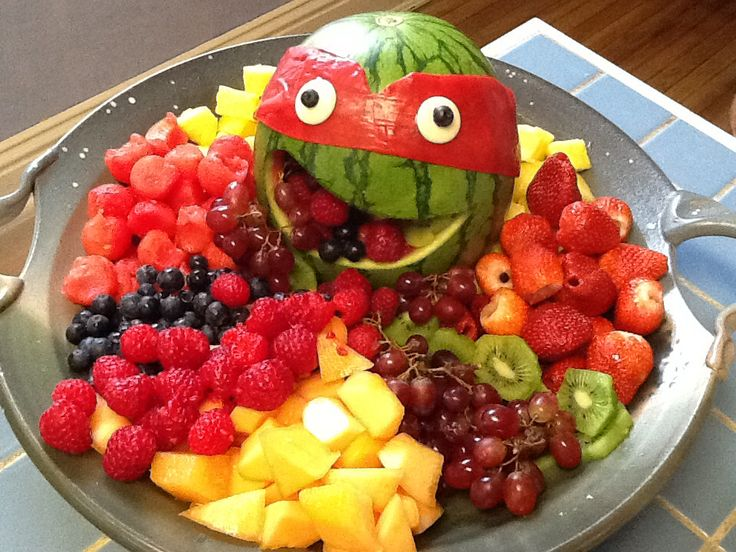 Fruit tray for Teenage Mutant Ninja Turtles themed birthday party
