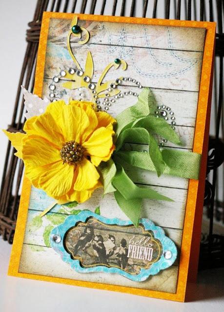 A pin inspired card by Agnieszka Piskorz . #BoBunny, #Prairie Chic, #Agnieszka Piskorz