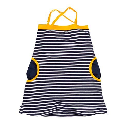 Organic Summer Dress Navy Stripes by Lasticot