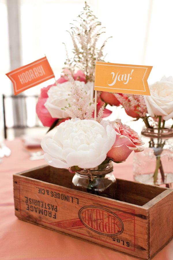 Rustic Peach Wedding Centerpiece with Peonies & Roses in wooden flower box.  #rusticwedding #peachrusticwedding #succulentbouquet #diywedding #afloral Photographer: Laura Jane Petelko|Flowers: Fuscia Designs via http://www.weddingchicks.com/2013/04/08/rustic-peach-wedding/