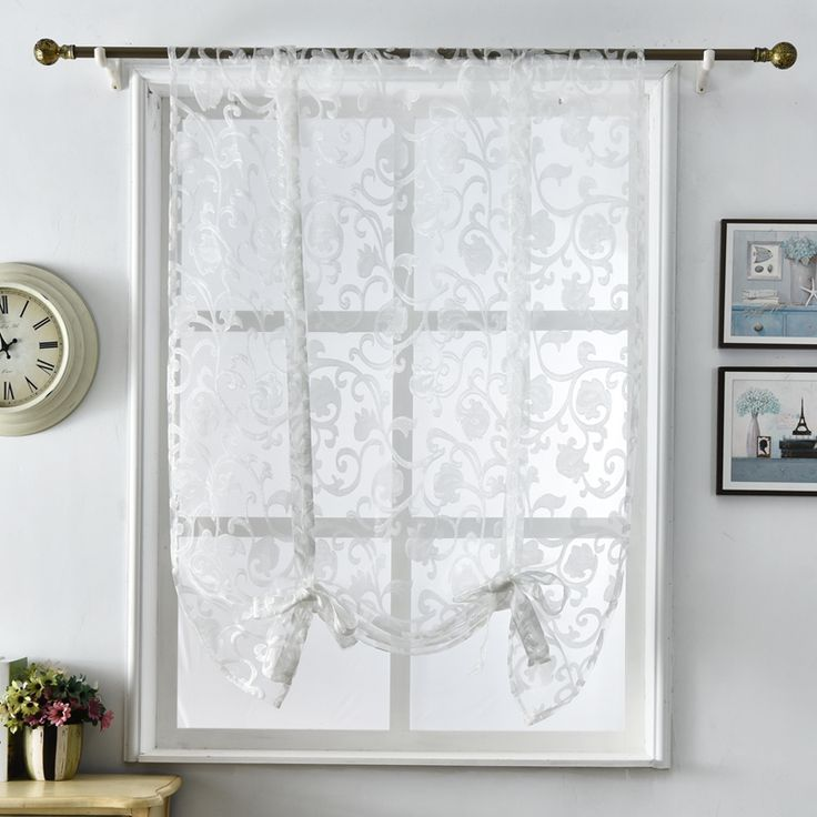 Short Kitchen Curtains Half White Tulle Modern Design Home Textile Jacquard Window Treatments