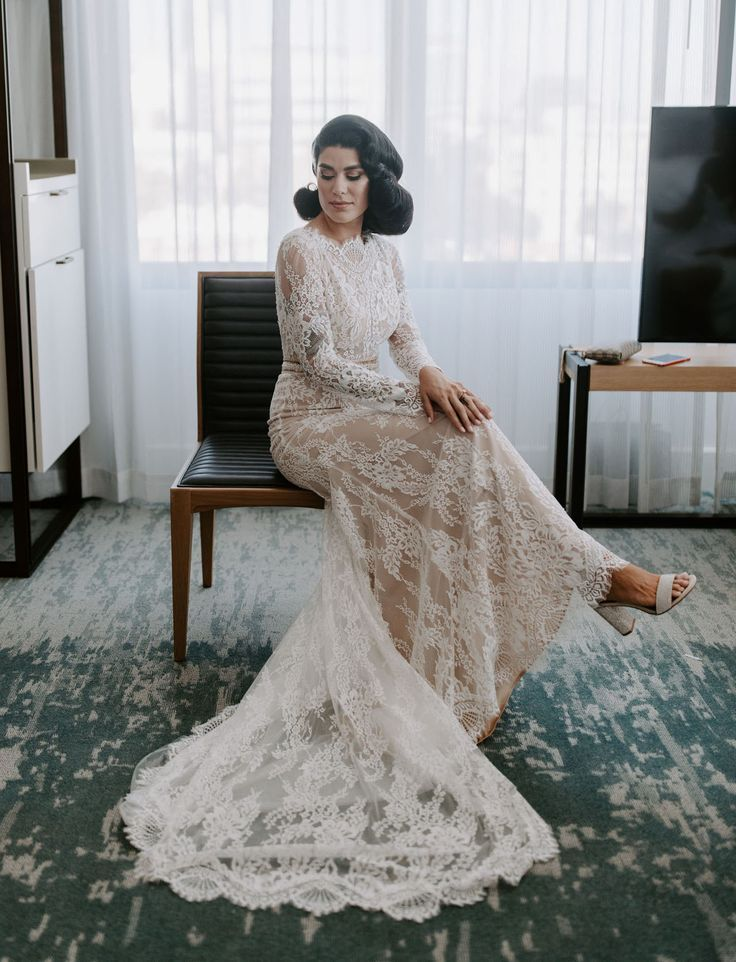 Modern Chic Neuehouse Hollywood Wedding Lace Vintage Inspired