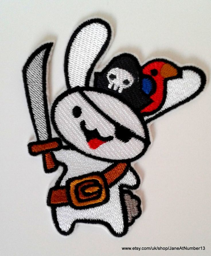 Cute pirate bunny iron-on patch, pirate patch, bunny patch,rabbit patch by JaneAtNumber13 on Etsy