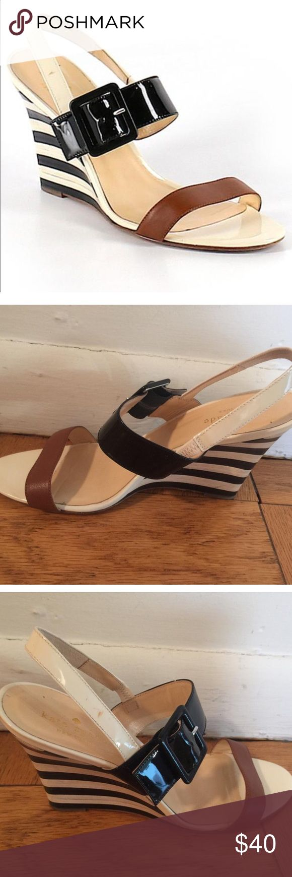 Kate Spade Black and White Striped Wedges One of a kind Kate Spade wedges with black and white striped soles which taper into the in-step for a more defined, flattering shape.  No visible signs of wear other than the bottom of the shoe as you can see in the pic (only worn once). kate spade Shoes Sandals