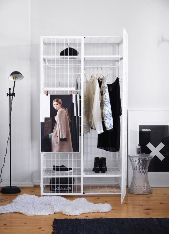 In need of a small-space storage solution? Get this Industrial-style white metal wardrobe designed by French designer Matali Crasset for IKEA.