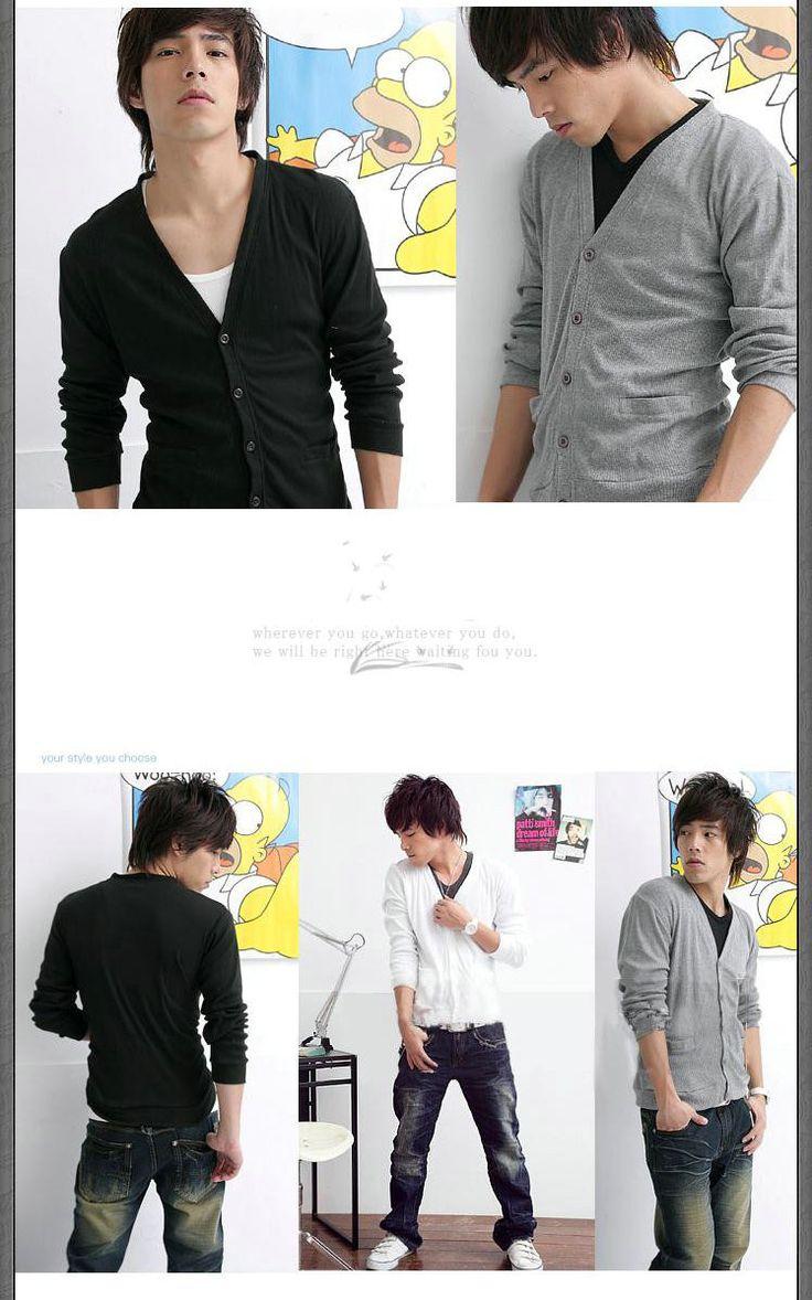 Nova moda elegante homem Cardigan de tricô camisola de malha de v, 3 cor M ~ XL disponível, De em Cardigãs de Roupas e Acessórios - Masculino no AliExpress.com | Alibaba Group