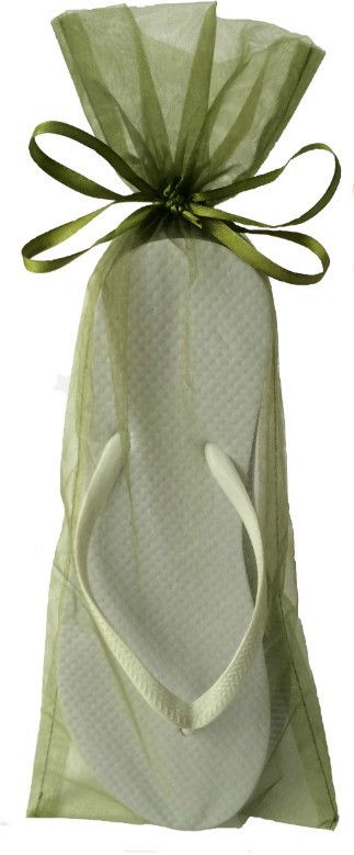 Classic White Flip Flop with Moss Green Organza Bags.  Perfect for beach event favors and useful weeks later!