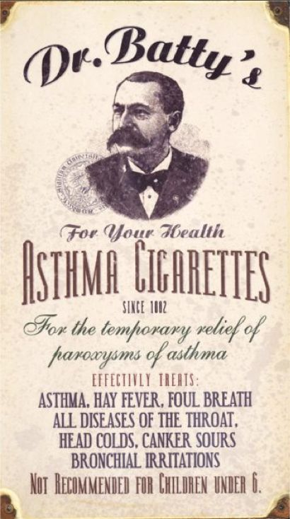 "1. The classic lie, of course, is that cigarettes are healthy. This old ad for ""Asthma Cigarettes"" claimed to reduce bronchial irritation. ""Not recommended for children under 6,"" though.    Read more: http://www.businessinsider.com/the-biggest-lies-ever-told-by-major-advertisers-2012-11"