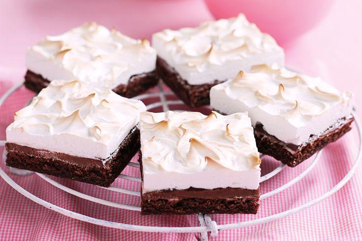 Gluten-free choc-hazelnut Nutella meringue dessert slice