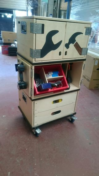 Hi there, i'm a Carpenter who is a lot on the road to decorate shops and put up exposition fairsi have searched for a good mobile toolbox that is also easy to handle...
