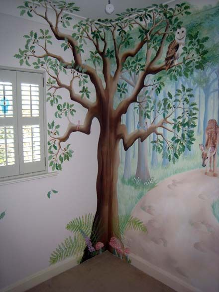 fairy tree mural. I like how its done in the corner