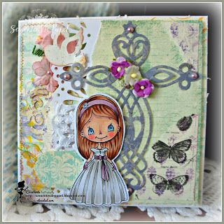 Sementes de papel: My card for Alicia Bel, first communion girl