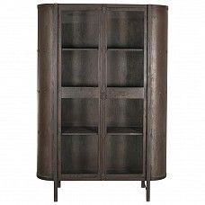 Industrial style medicine cabinet with glass doors