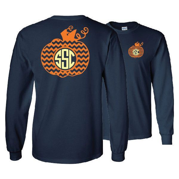 Fall Chevron Pumpkin Monogrammed Long Sleeve Shirt ($24) ❤ liked on Polyvore featuring tops, t-shirts, dark olive, women's clothing, fitted shirt, ribbed t shirt, blue shirt, blue t shirt y monogrammed shirts