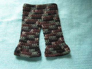 Pants for American Girl Dolls  WW yarn (I used Bernat Camo yarn)  size G-6 hook   Chain 44 Join ch to form ring, do not twist   row 1: ch 2,...