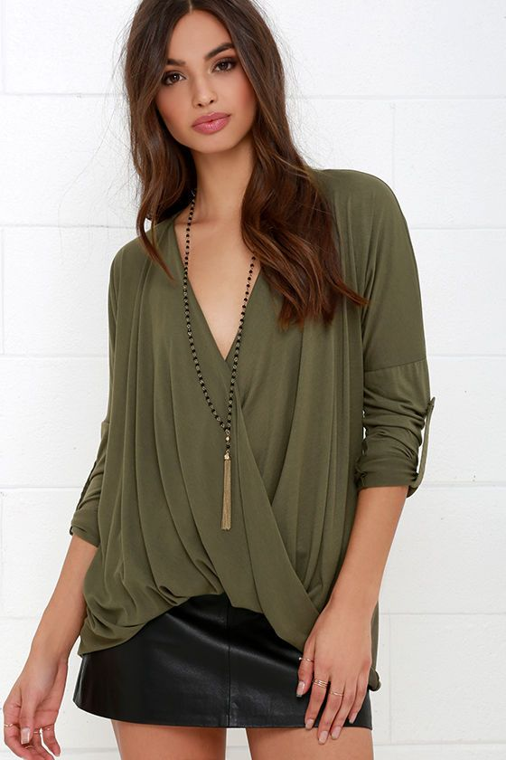 This Is Twist Olive Green Long Sleeve Top at Lulus.com!