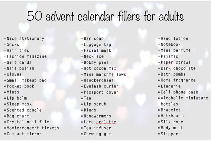 Advent calendar fillers ideas for women                                                                                                                                                                                 More                                                                                                                                                                                 More