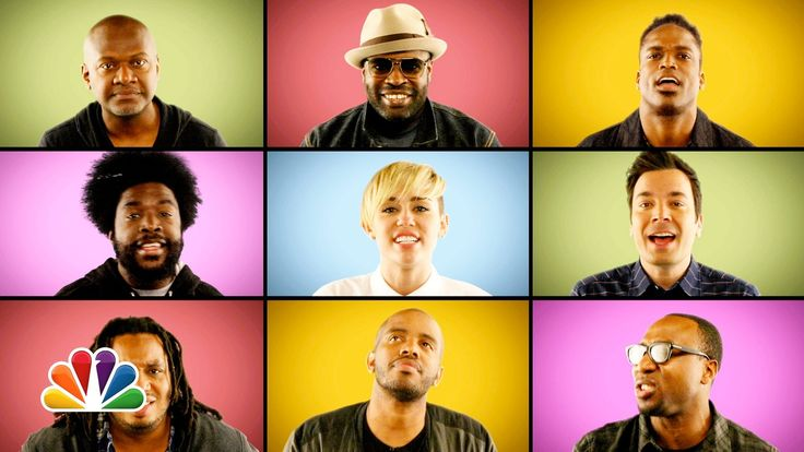 """Jimmy Fallon, Miley Cyrus & The Roots Sing """"We Can't Stop"""" (A Cappella)"""