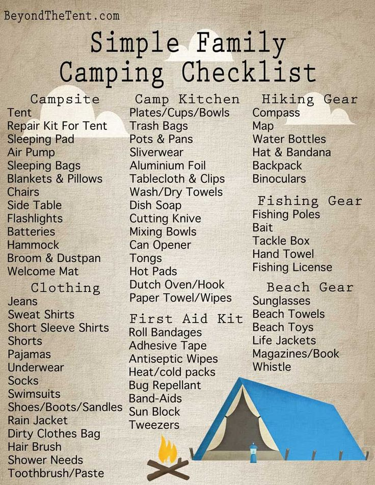 Simple Family Camping Checklist From BeyondTheTent.com http://www.beyondthetent.com/simple-family-camping-checklist/