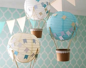 Whimsical hot air balloon decoration diy kit mint - Baby deko mint ...