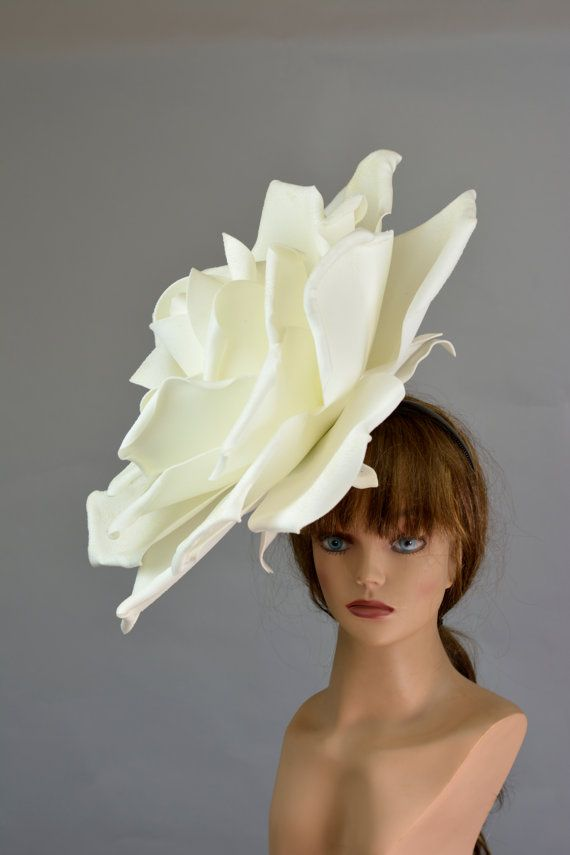 White Ivory Over Size Rose Headband Wedding Hat Kentucky Derby Hat Church Hat White Coctail Hat Co Rose Headband Wedding Hats Derby Hats