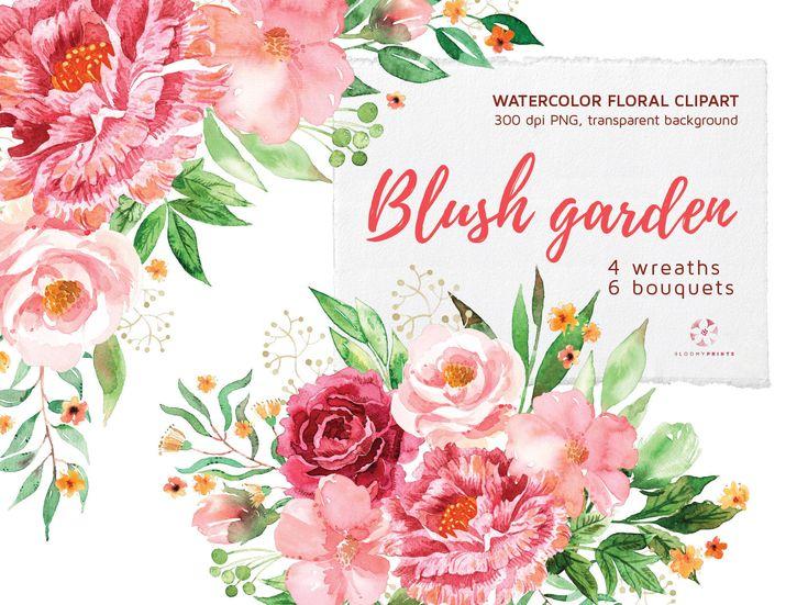 Watercolor Pastel Flowers Clipart Watercolour Pink Bouquets Wreaths Floral Hand