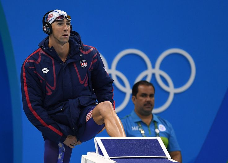 . RIO DE JANEIRO, BRAZIL - AUGUST 08: Michael Phelps of the United States prepares for his Men\'s 200m Butterfly heat on Day 3 of the Rio 2016 Olympic Games at the Olympic Aquatics Stadium on August 8, 2016 in Rio de Janeiro, Brazil. (Photo by Laurence Griffiths/Getty Images)