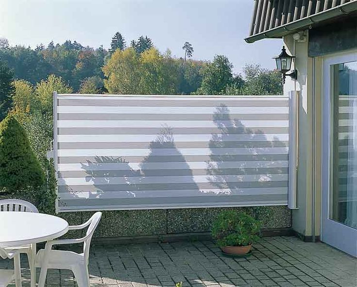 condo deck privacy ideas - retractable awning hung on the wall to give horizontal screening