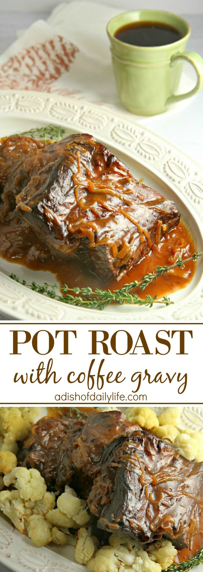 Slow cooked, melt in your mouth Pot Roast with Coffee Gravy and caramelized onions is the perfect comfort food for the chilly winter months. AD #KACraftCoffee