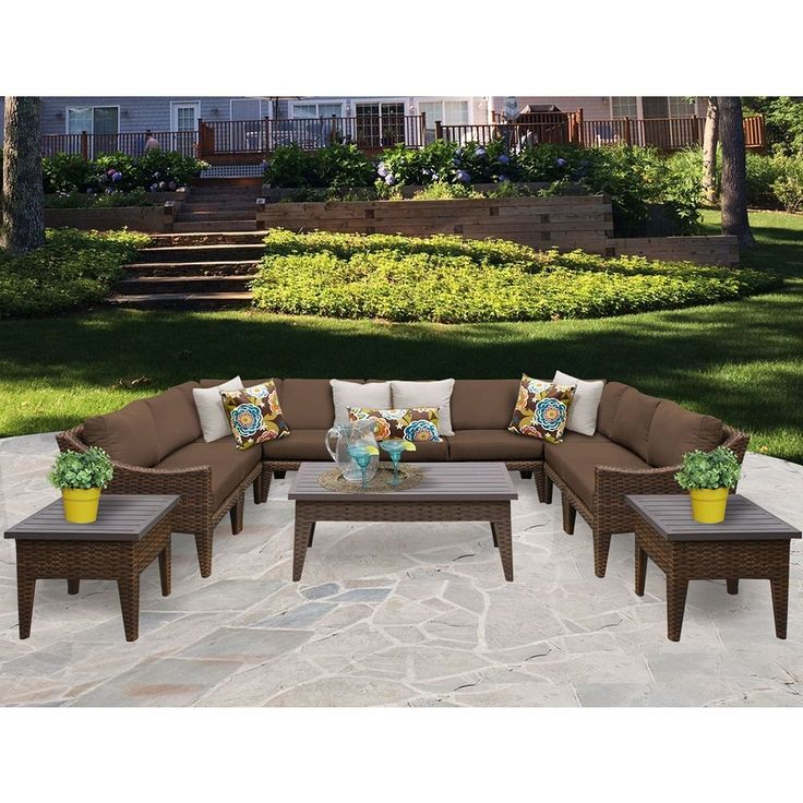 TK Classics Manhattan 12 Piece Outdoor Wicker Patio Furniture Set 12a  (Size), Brown