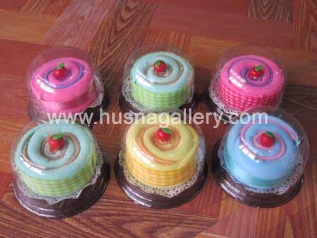 souvenir handuk Towel Cake Roll Bulat Flanel Cherry