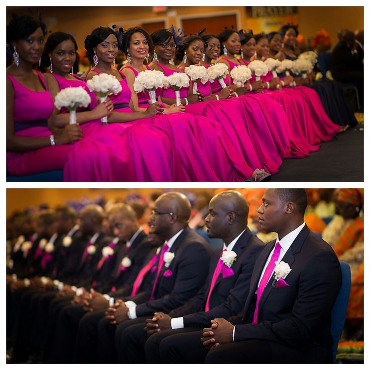 nigerian wedding bridal party in fuchsia pink and black