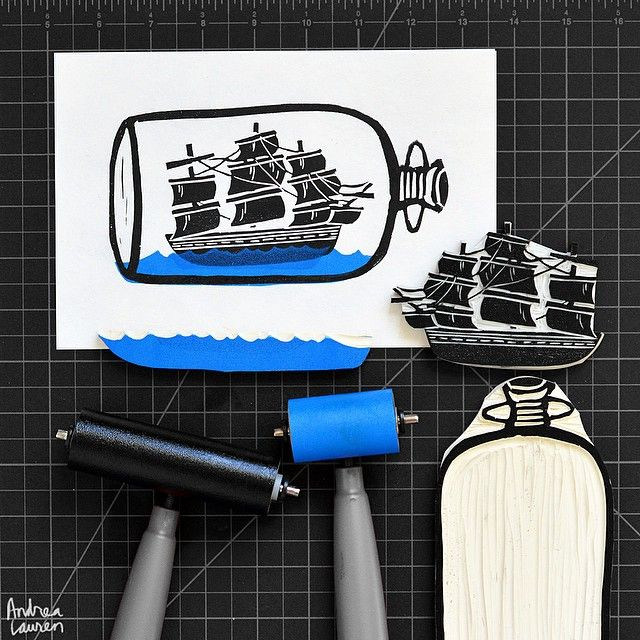 Andrea Lauren (@inkprintrepeat) | Starting the work week carving and printing a ship in a bottle.