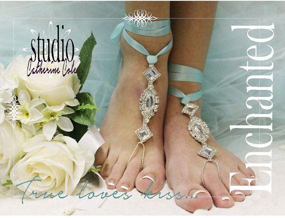 .rhinestone silver Barefoot sandals beach destination wedding
