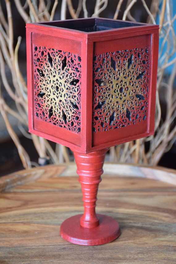 Vase Handmade Red and Gold Square by ThadamCreativeDesign on Etsy