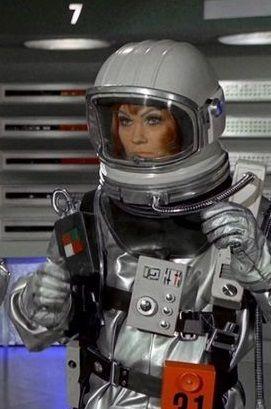 Lt. Harrington working on repressurising Moonbase module 3 after UFO attack.