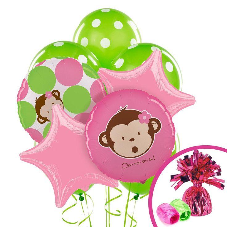 Pink Mod Monkey Balloon Bouquet from BirthdayExpress.com