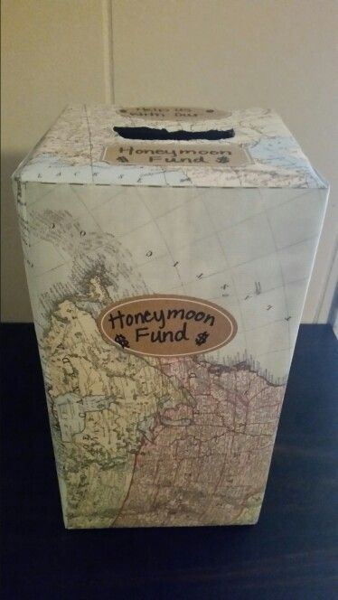 DIY honeymoon fund box for destination wedding theme